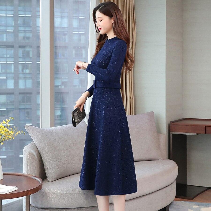 2019 Vintage Blue Long Sleeve Midi Dresses Autumn Winter 2XL Plus Size Solid Women Bodycon Dress Elegant Party Femal Vestidos 69