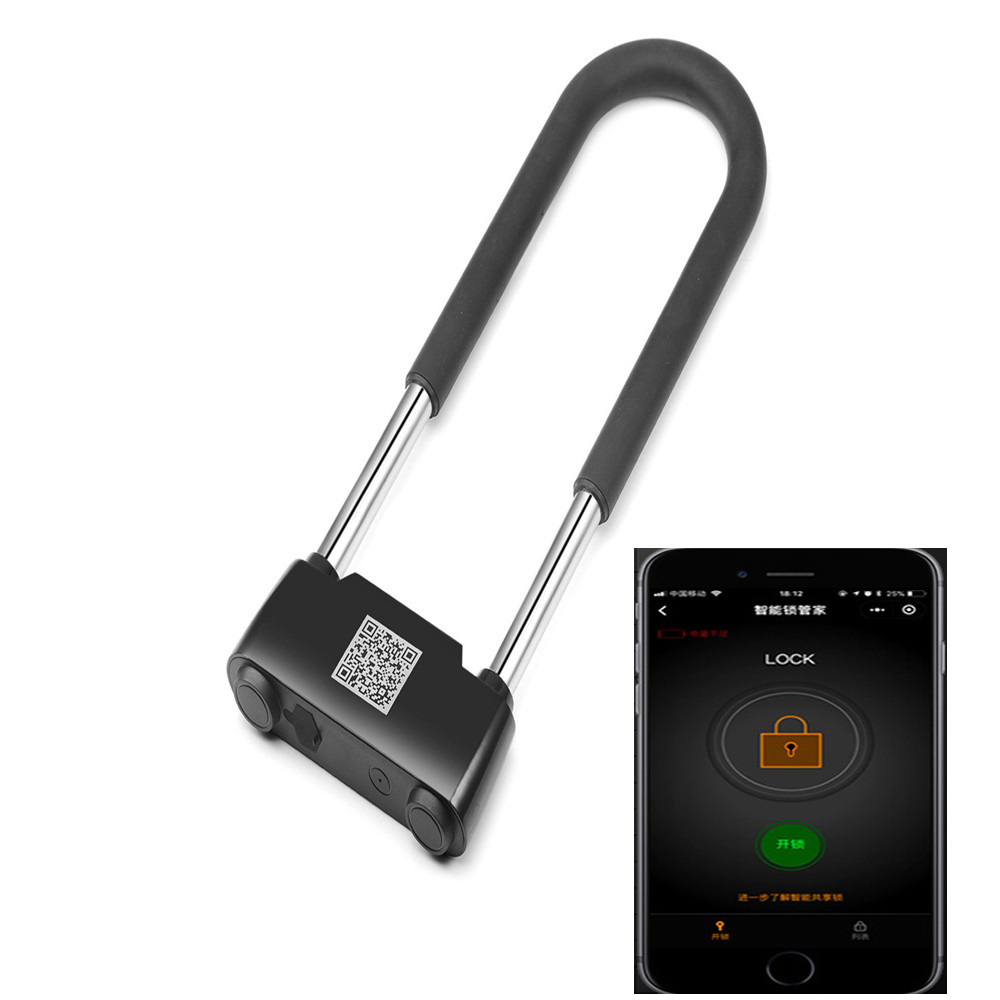 Smart Bluetooth Keyless U Type Lock Rechargeable Antitheft Phone APP Remote Control Password Door Lock Motorcycle Motocross Lock