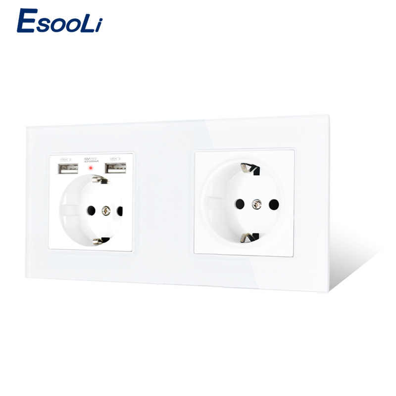 Esooli 2 gang russia 스페인 eu 표준 벽 소켓 크리스탈 유리 패널 2 usb 충전 포트 숨겨진 소프트 led 표시기