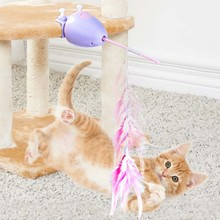 The Funny Eco-friendly Cat Teaser Toy Automatic Lifting Lowing Feather Toys Chasing Fox Tail toy Can Be Replace