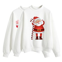 Halloween Women Brushed Sweatshirt Autumn Winter Long-sleeved Santa Claus Christmas Tree Print Happy