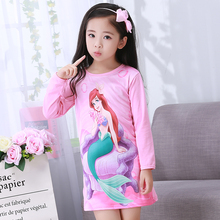 Ночная рубашка принцессы для девочек; сезон осень-лето; ночная рубашка с длинными рукавами красивое детское ночное платье симпатичное детское платье для сна с героями мультфильмов; Возраст 2-12 лет