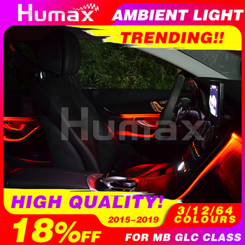 For Mercedes GLC class   interior accessories ambient lamp  Atmosphere lighting  illuminated car Styling 3/12/64 colours
