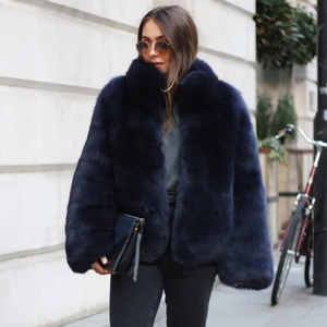 Image 2 - Fashion Stand Collar Women Genuine Fox Fur Coats Thick Warm Natural Full Pelt Blue Fox Fur Jacket Real Fur Overcoats Winter 2020