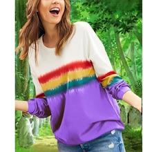 Loozykit Womens Autumn T-Shirt Chic Rainbow Stripe Folded Round Neck Long Sleeve Pullover Top