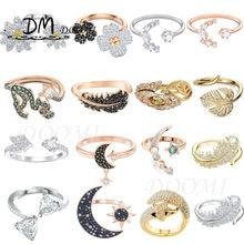 SWA1:1 Fashion Jewelry High Quality,Charm Moon Star Clover Feather Fox Daisy Cupid Arrow Crystal Opening Adjustment Women Ring