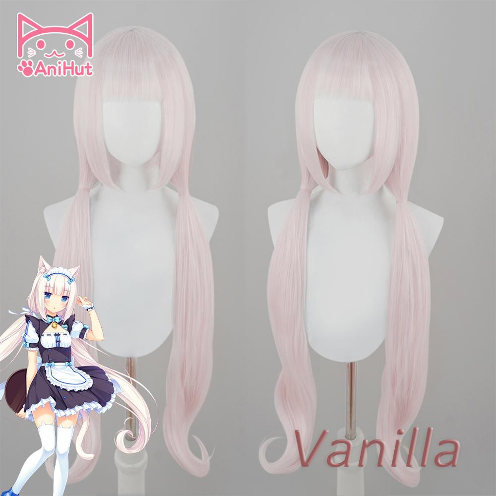 AniHut Vanilla Wig Anime NEKOPARA Cosplay Wig Women Pink 100cm  Heat Resistant Synthetic Hair NEKOPARA Vanilla Cosplay Hair