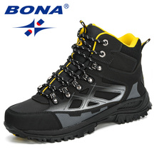 BONA 2020 New Designers Super Warm Men Winter Boots Nubuck Leather Snow Boots Man Plush Ankle Footwear Anti-Slip Masculino Comfy