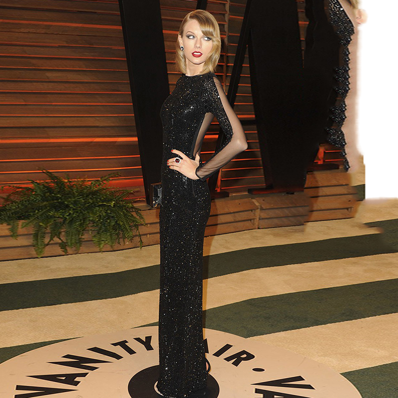 Taylor Black Sequin Floor Length Gown 2018 Vanity Fair Oscar Party Hollywood Sheer Back Long Sleeve Mother Of The Bride Dresses