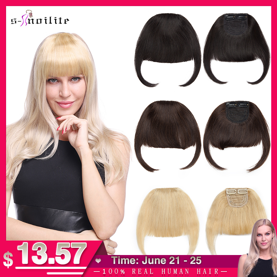 S-noilite 23g Thick Human Hair Bangs Fringe Clip In Hair Extensions With Temples Invisible Non-Remy Hairpiece Blonde Black Brown