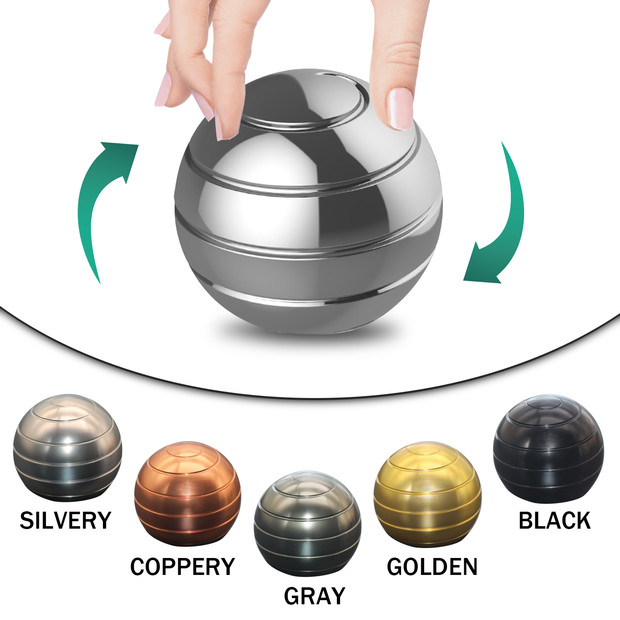 New Desktop Decompression Rotating Spherical Gyroscope Desk Toy Metal Gyro Optical Illusion Flowing Finger Toy For Adult
