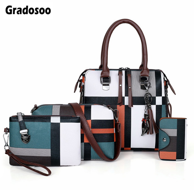 Gradosoo Plaid Pattern Handbags 4 Sets Women Leather Purse And Handbag Bag Female Tassel Shoulder Bag Women Crossbody Bag LBF651