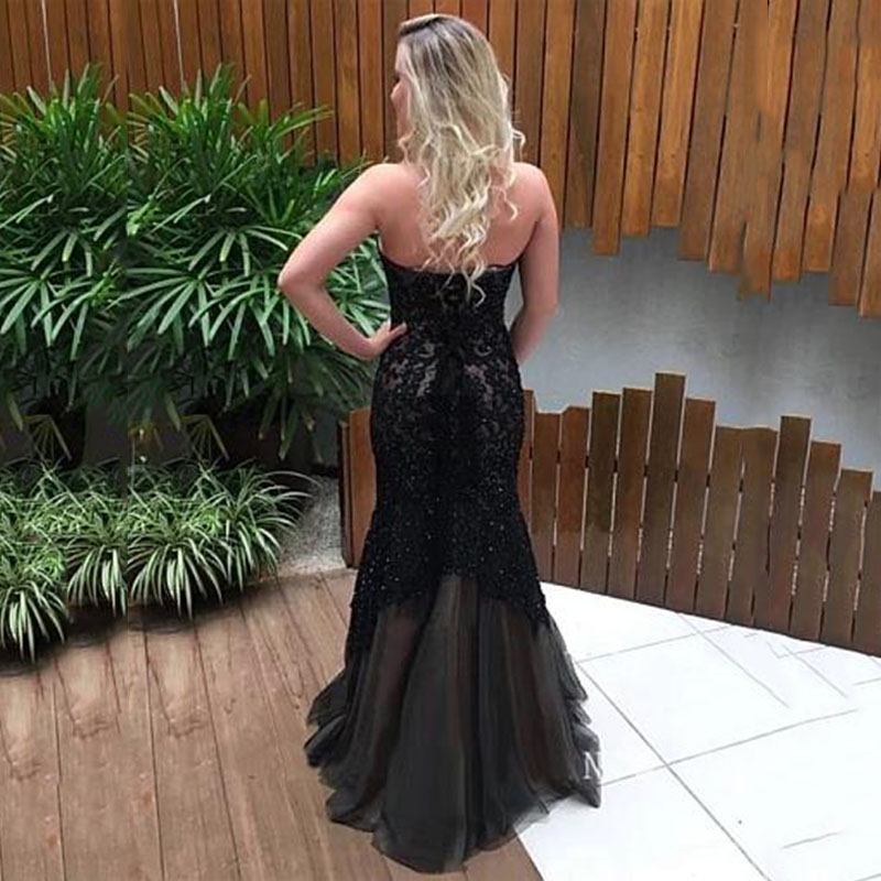 Black Mermaid Evening Dress 2020 Dubai Sweetheart Lace Appliques Tulle Long Prom Dress Evening Gowns Woman robe soiree
