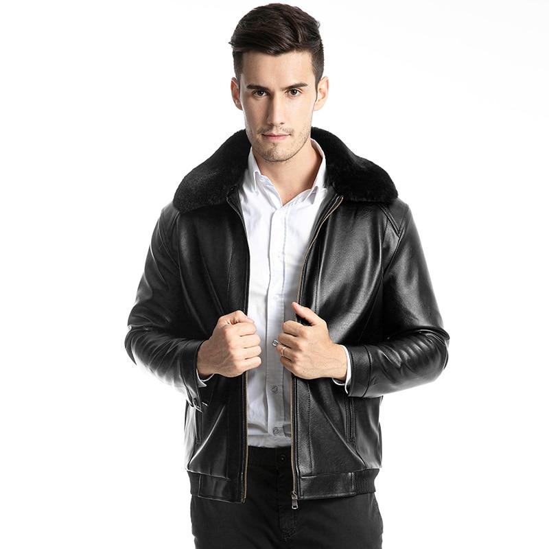 Men Winter Faux Fur Lapel Jacket 2019 New Fashion Warm  Coat Male  Windbreaker  High Quality Classic Motorcycle Jacket Size 5XL
