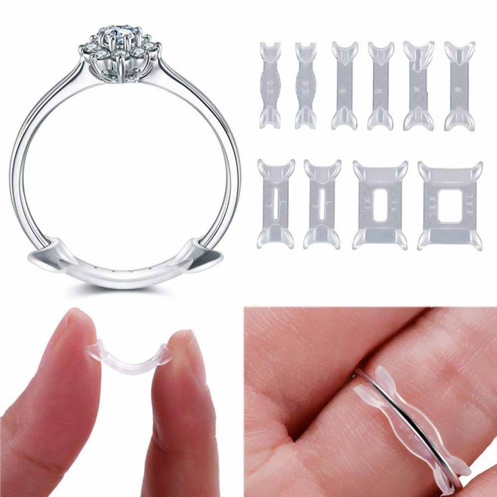 12pcs Invisible Ring Size Adjuster Ring Resizing Jewelry Tools Transparent Ring Size Adjuster Plastic Ring Adjuster Pad Reducer
