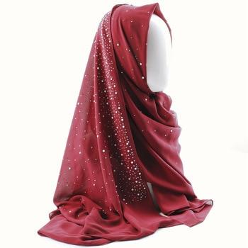 Muslim Scarf Women Chiffon Soft Long Headscarf Scarves Hijabs Sequined Scarf Pure Color Diamond Pearl Turban Wrap Turban Head fashion big feather chiffon long shawl lady muslim hijabs scarf for women wedding wrap islamic headscarf solid turkish turban