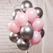 10pcs/lot Chrome Silver Pastel Pink Balloons Gold Confetti Transparent Birthday Wedding Party Decorations Baby Shower
