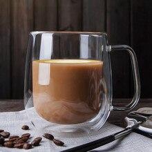 כפול ספלי קפה עם ידית ספלי שתיית בידוד זוגי קיר זכוכית תה כוס מתנה יצירתית Drinkware חלב