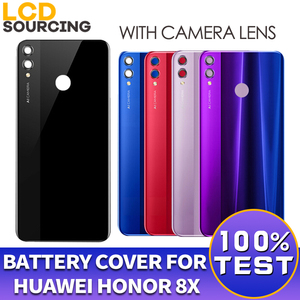 Image 1 - Battery Cover For Huawei Honor 8X Back Glass Battery Housing Cover Replace With Camera Lens For Honor 8x Back Cover Case