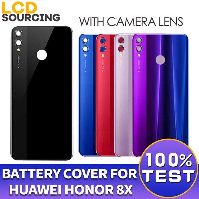 แบตเตอรี่สำหรับHuawei Honor 8Xกลับแบตเตอรี่แก้วฝาครอบเปลี่ยนพร้อมเลนส์กล้องสำหรับHonor 8xปกหลังกรณี