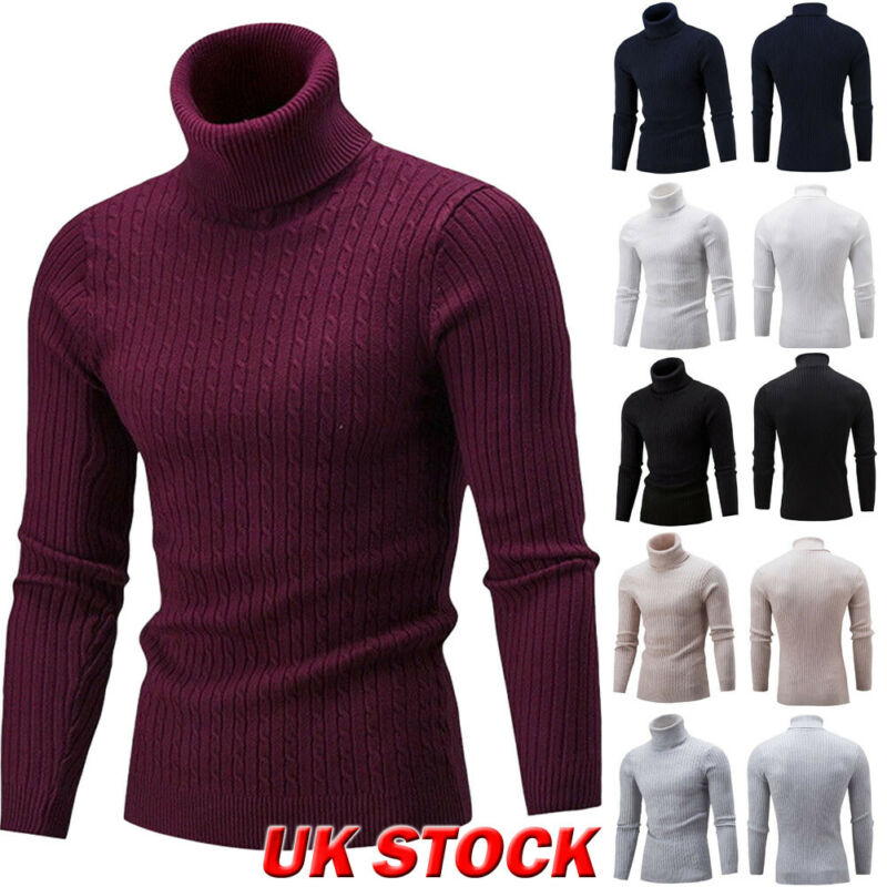 Male Sweater Winter Pullover Turtle Neck Men's Jumper White Mens Knitwear Pull Homme Turtleneck Men Sweater Christmas Cotton