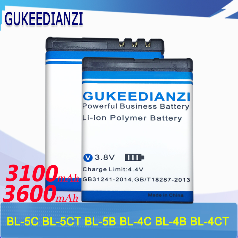 GUKEEDIANZI Phone Battery For Nokia BL-4C BL-5C BL-4B BL-5B BL-5CT BL-4CT N76 5000 3230 5070 1112 Lithium Replacement Batteries(China)
