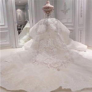 Image 2 - Luxury Beaded Mermaid Wedding Dress With Detachable Overskirt Dubai Arabic Sparkly Crystals Diamonds Bridal Gowns