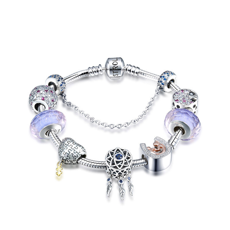 Nouveau design 925 en argent Sterling serpent chaîne avec breloques perles original Bracelet de luxe bijoux de mode pour mère cadeau 2019