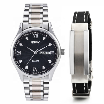 Men's Analog Quartz Watch with day Date Waterproof  full stainless steel Strap Wristswatch gift set free steel silicone bracelet