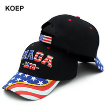 Donald Trump 2020 Cap USA Flag MAGA Cappellini da baseball fare In America Grande di Nuovo Snapback Presidente Cappello 3D RICAMO Nero del Commercio All'ingrosso(China)