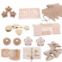 Arpillera-cintas de yute de arpillera Vintage, lazo de flor para boda, fiesta de Navidad, decoración del hogar, accesorios artesanales