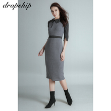 2020 Autumn Woman Dress Vintage Bodycon Dresses For Women Knitted Long Party Dress Grey Elegant Maxi Dresses For Women