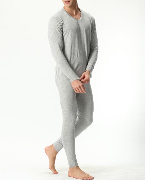 Autumn Winter Johns Underwear Cotton V-neck Warm Long Johns Set Men Ultra-Soft Solid Bamboo Fiber Thin Men's Pajamas Plus size