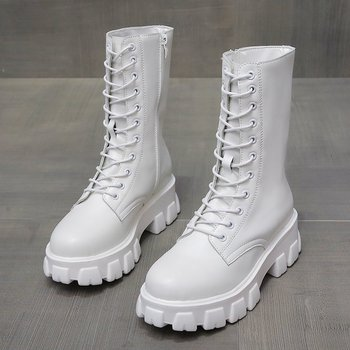 2020 Spring Women White Boots Autumn Fashion Black Leather Platform Gothic Boots Punk Combat Mid-Calf Boots for Women snow boots platform 4 8cm heels down flat women shoes black white blue mid calf boots fashion ladies winter boots plus size 44