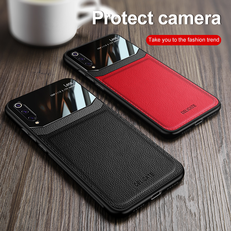 Phone Case for Xiaomi <font><b>Mi</b></font> <font><b>9</b></font> Lite Case Cover Business PC Grained Leather Bumper Back Case for Xiaomi <font><b>Mi</b></font> <font><b>9</b></font> Lite <font><b>SE</b></font> <font><b>Global</b></font> Version image