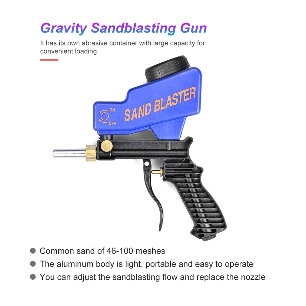 Portable Gravity Sandblasting Gun Pneumatic Sandblasting Set/Kit Rust Blasting Device Small Sand Blasting Machine
