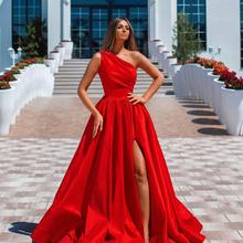 Prom-Dresses Evening One-Shoulder Party Red Long A-Line Vestidos-De-Fiesta Festival Bride