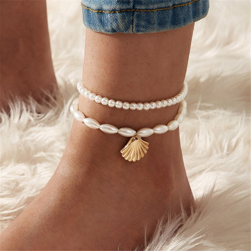 Vintage Double-layered Imitation Pearl Beads Shell Anklets for Women Multi Layer Anklet Leg Bracelet Handmade Bohemian Jewelry
