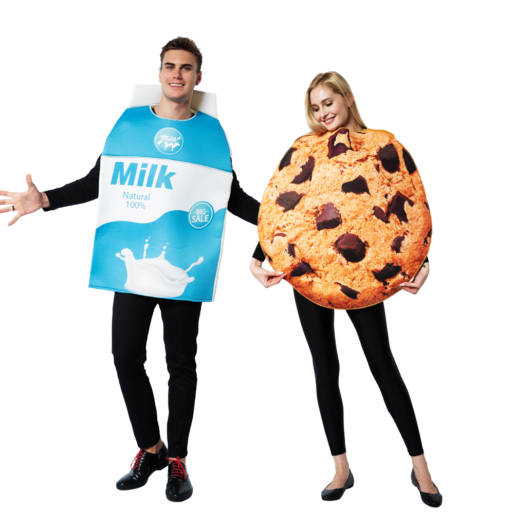 Snailify 2pcs Set Adult Cookies And Milk Costume Halloween Costume For Couple Men Milk Costume Women Cookies Cosplay