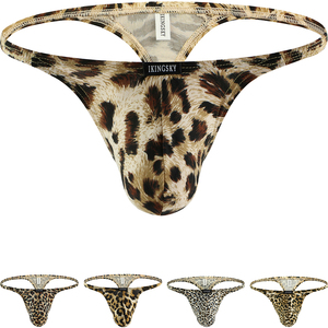 iKingsky Men's Leopard G-String Big Pouch Y-Back Underwear Sexy Low Rise Bulge Thong Under Panties(China)