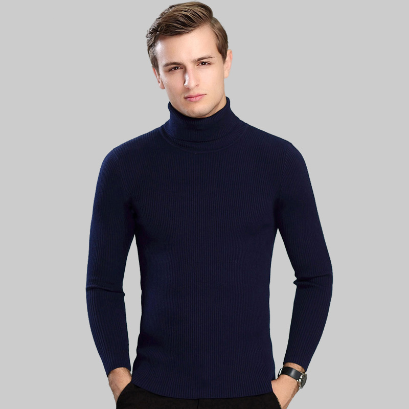 2019 New Autumn Winter Sweater Men Turtleneck Solid Color Knitwear Men's Fashion Handsome Pullover Vertical Slim Casual Sweater