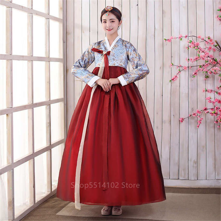 2020 Traditional Korean Hanbok For Woman Noble Elegant Royal Court Princess Dresses Female Embroidery Party Stage Dance Costumes
