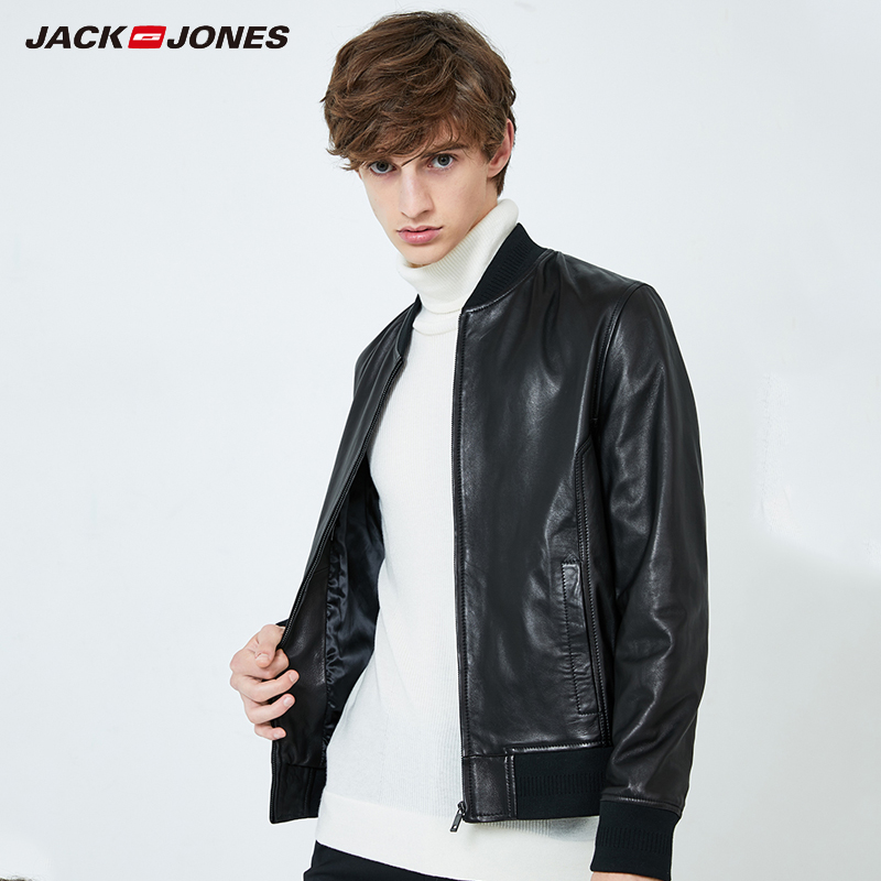Jack Jones Sheep Leather Baseball Uniform Locomotive  Jacket Coat |219310503