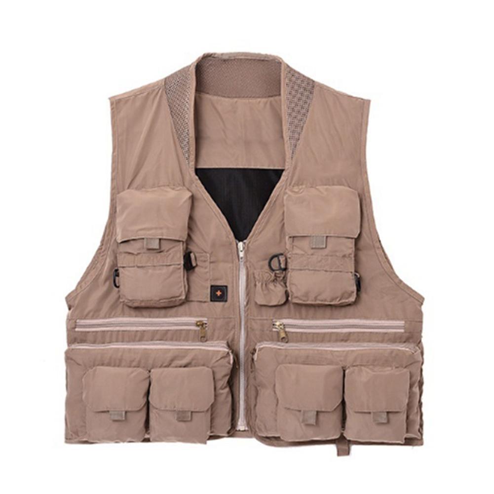 Men Waterproof Fishing Vest Jacket Outdoor Hiking Hunting Multi P-ocket Waistcoat