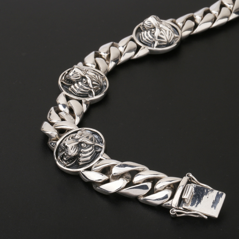 Чистое Серебро S925, браслет с головой тигра, Стерлинговое Серебро 925 пробы, мужские ювелирные изделия - 5