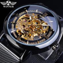 лучшая цена Winner Classic Men Mechanical Watch Skeleton Black Golden Slim Analog Mesh Steel Band Mens Casual Dress Wristwatch Clock For Man