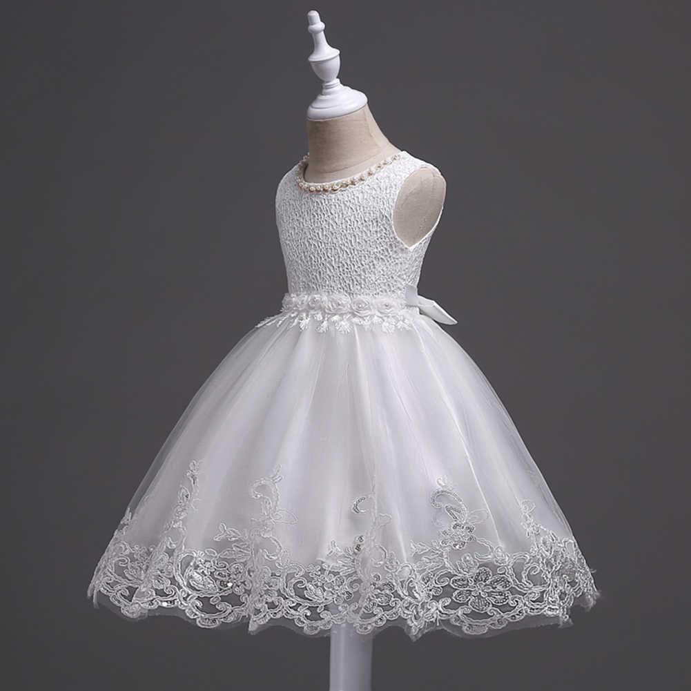 Tatlı çocuk kız çiçek kolsuz sahte İnci pullu Mesh Tutu prenses elbise elbisesi Polyester, örgü çiçek Motif O yaprak el yıkama