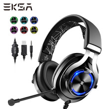 EKSA Wired Gaming Headset Gamer E3000 Profonda Bass Stereo Wired Cuffie per Smartphone PC PS4 Xbox Con Microfono RGB LED luce(China)
