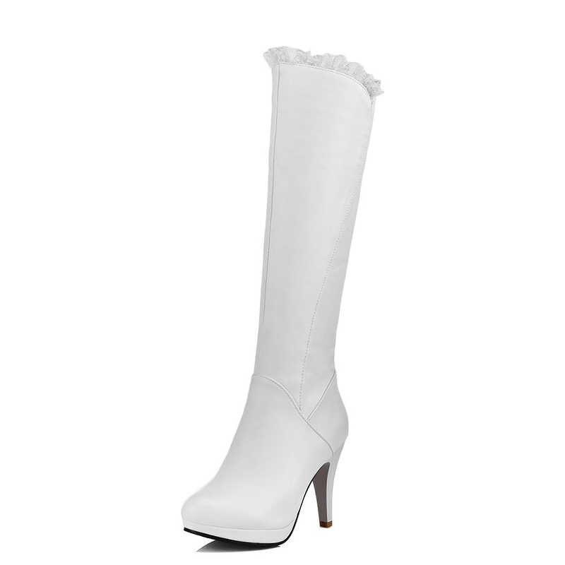 ผู้หญิงแฟชั่นขนาดใหญ่ 32-43 ลูกไม้ Elegant รองเท้าส้นสูงรองเท้าผู้หญิง Party Office เลดี้เซ็กซี่ฤดูใบไม้ร่วงฤดูหนาวรองเท้าผู้หญิง