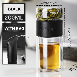 Image 5 - 200ml Double Layer High Borosilicate Glass Tea Infuser Bottle Tumbler With Stainless Steel Filter Bag For Office Kid Women Smart